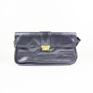 Vintage Black Faux Leather Extendable Shoulder Bag